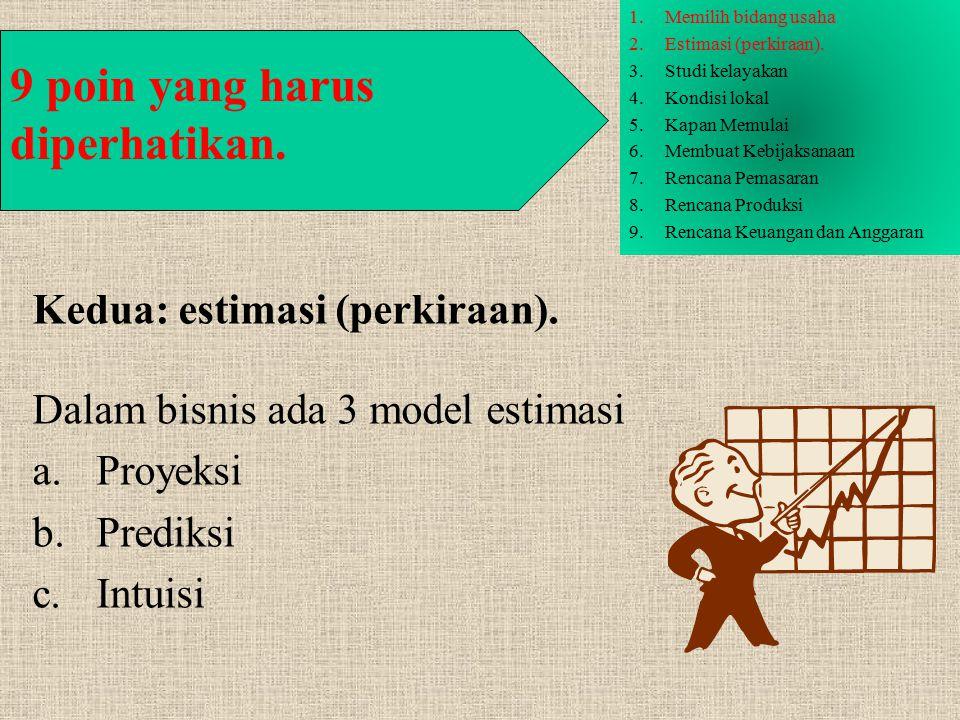 Kedua: estimasi (perkiraan). Dalam bisnis ada 3 model estimasi a.Proyeksi b.Prediksi c.Intuisi 9 poin yang harus diperhatikan. 1.Memilih bidang usaha