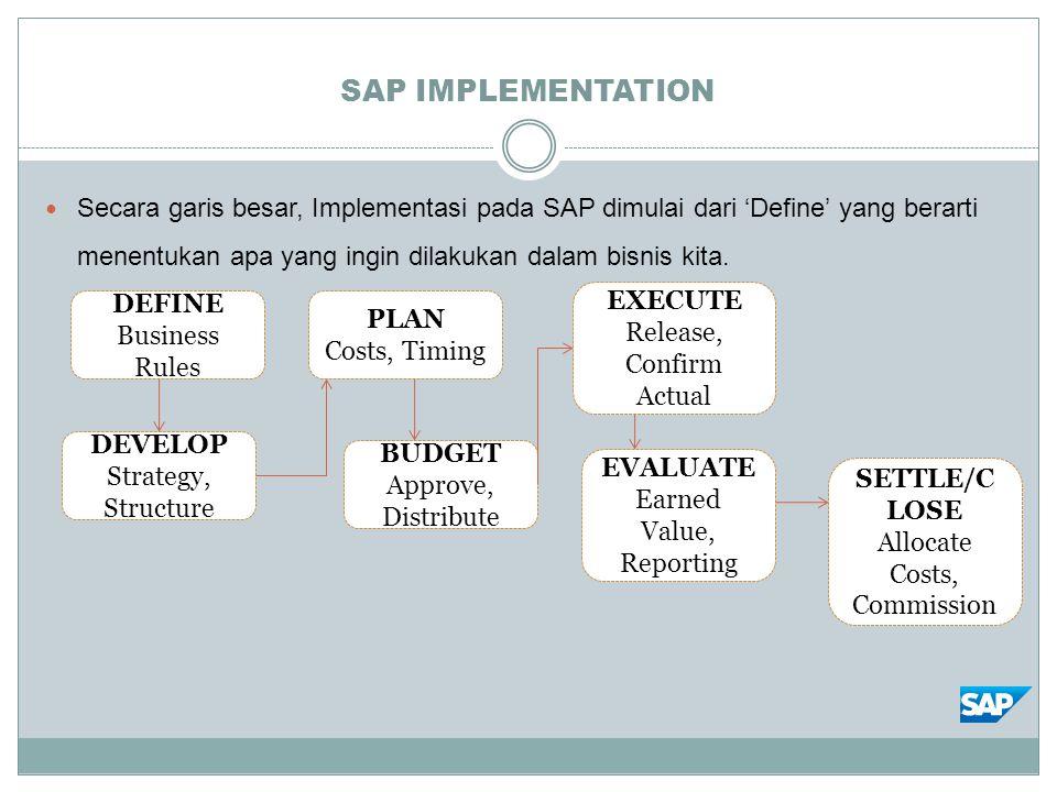SAP IMPLEMENTATION Secara garis besar, Implementasi pada SAP dimulai dari 'Define' yang berarti menentukan apa yang ingin dilakukan dalam bisnis kita.