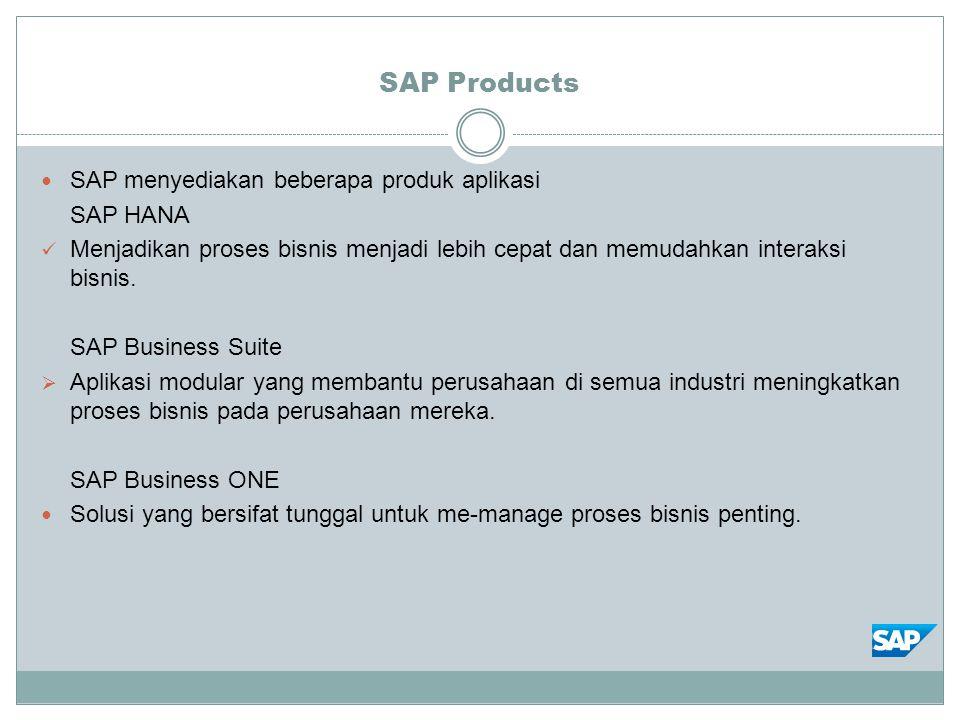 SAP Products SAP menyediakan beberapa produk aplikasi SAP HANA Menjadikan proses bisnis menjadi lebih cepat dan memudahkan interaksi bisnis. SAP Busin
