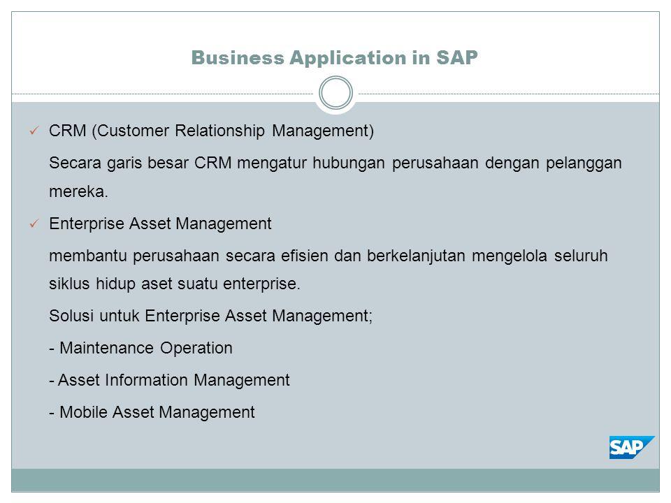 Business Application in SAP CRM (Customer Relationship Management) Secara garis besar CRM mengatur hubungan perusahaan dengan pelanggan mereka. Enterp