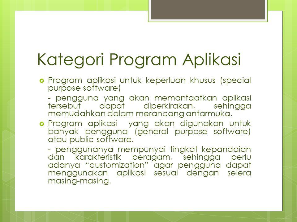 Kategori Program Aplikasi  Program aplikasi untuk keperluan khusus (special purpose software) - pengguna yang akan memanfaatkan aplikasi tersebut dap