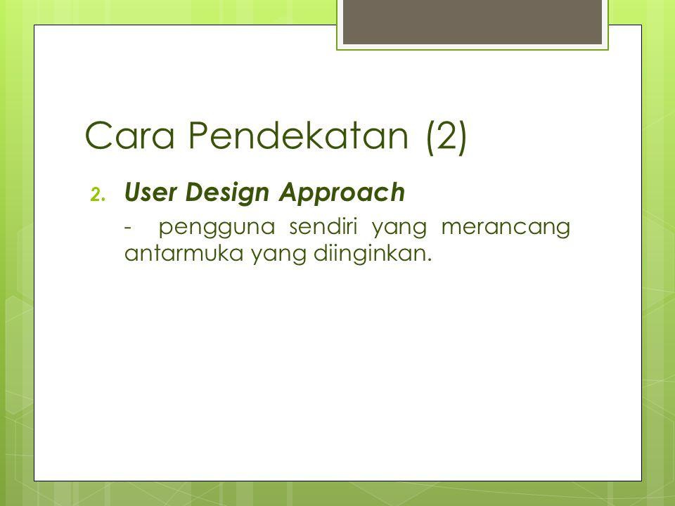 Cara Pendekatan (2) 2. User Design Approach - pengguna sendiri yang merancang antarmuka yang diinginkan.