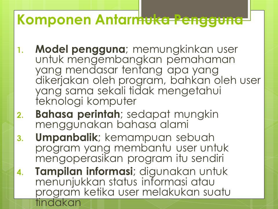 Komponen Antarmuka Pengguna 1. Model pengguna ; memungkinkan user untuk mengembangkan pemahaman yang mendasar tentang apa yang dikerjakan oleh program