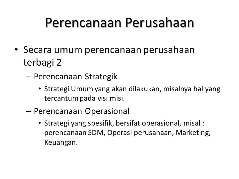 Perencanaan Perusahaan Secara umum perencanaan perusahaan terbagi 2 – Perencanaan Strategik Strategi Umum yang akan dilakukan, misalnya hal yang terca