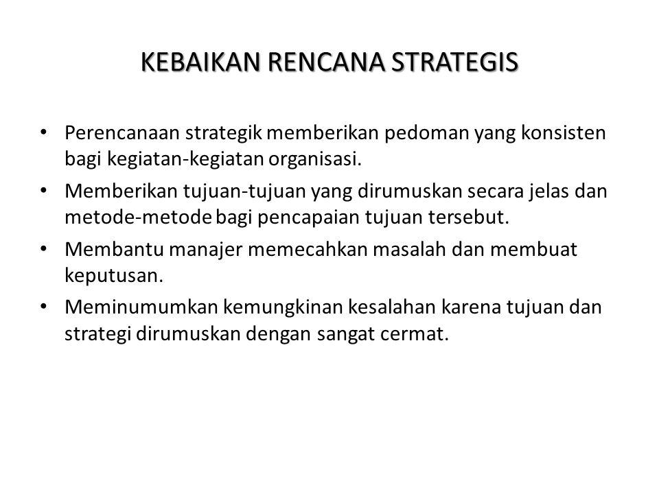 KEBAIKAN RENCANA STRATEGIS Perencanaan strategik memberikan pedoman yang konsisten bagi kegiatan-kegiatan organisasi. Memberikan tujuan-tujuan yang di