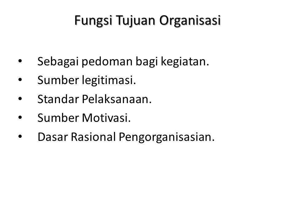 Fungsi Tujuan Organisasi Sebagai pedoman bagi kegiatan. Sumber legitimasi. Standar Pelaksanaan. Sumber Motivasi. Dasar Rasional Pengorganisasian.