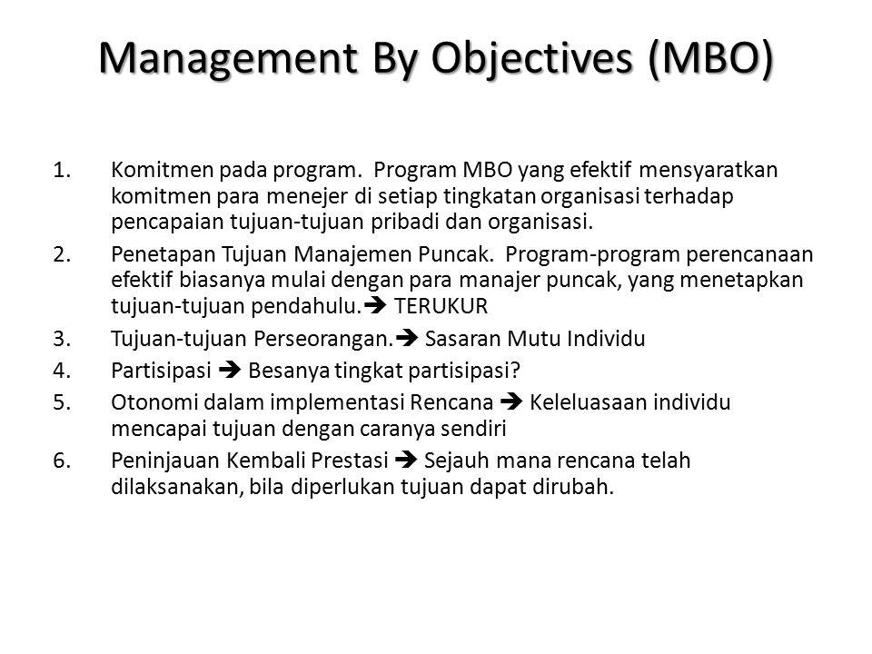 Management By Objectives (MBO) 1.Komitmen pada program. Program MBO yang efektif mensyaratkan komitmen para menejer di setiap tingkatan organisasi ter
