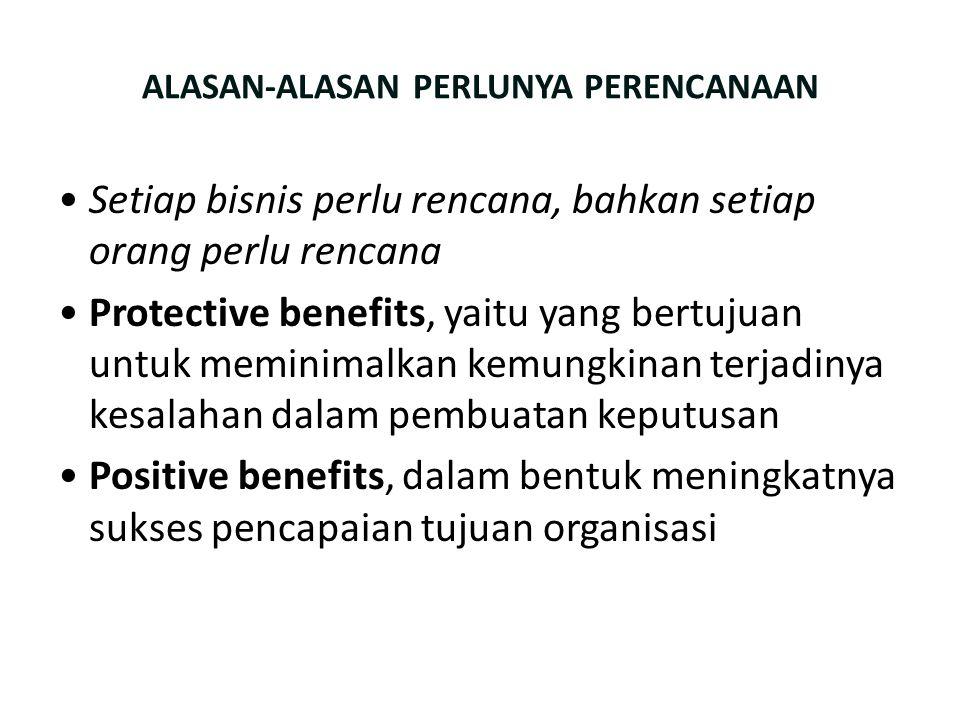 ALASAN-ALASAN PERLUNYA PERENCANAAN Setiap bisnis perlu rencana, bahkan setiap orang perlu rencana Protective benefits, yaitu yang bertujuan untuk memi