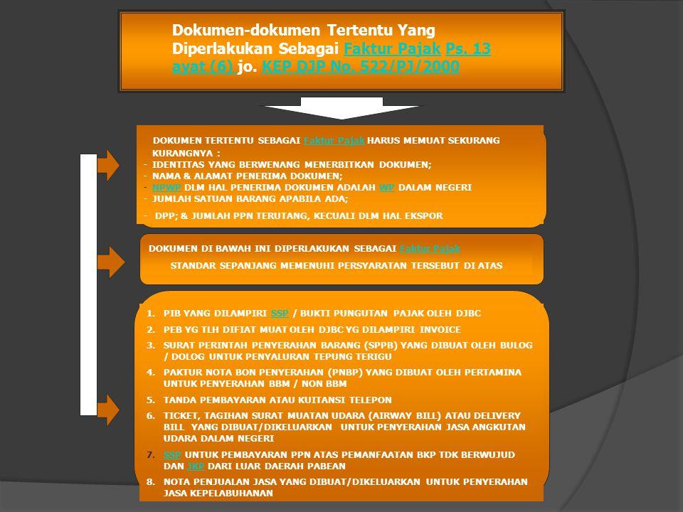 Dokumen-dokumen Tertentu Yang Diperlakukan Sebagai Faktur Pajak Ps. 13 ayat (6) jo. KEP DJP No. 522/PJ/2000Faktur PajakPs. 13 ayat (6) KEP DJP No. 522