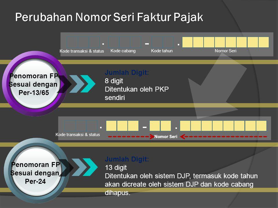 Penomoran FP Sesuai dengan Per-24 Penomoran FP Sesuai dengan Per-13/65.. - Kode transaksi & status Kode cabang Kode tahunNomor Seri Jumlah Digit: 8 di