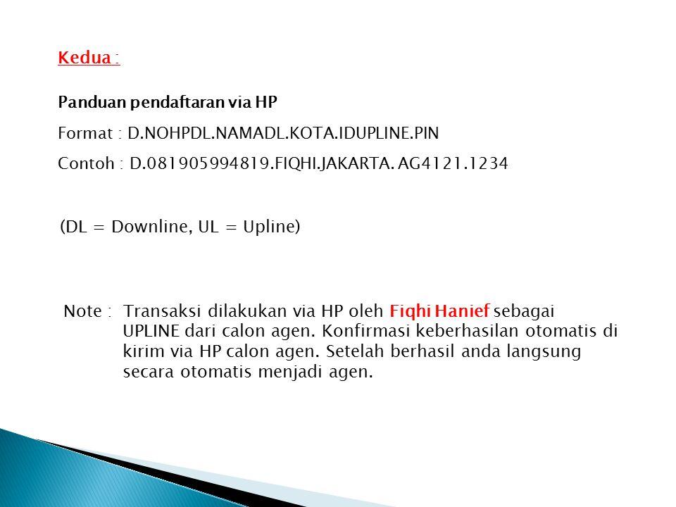 Panduan pendaftaran via HP Format : D.NOHPDL.NAMADL.KOTA.IDUPLINE.PIN Contoh : D.081905994819.FIQHI.JAKARTA.