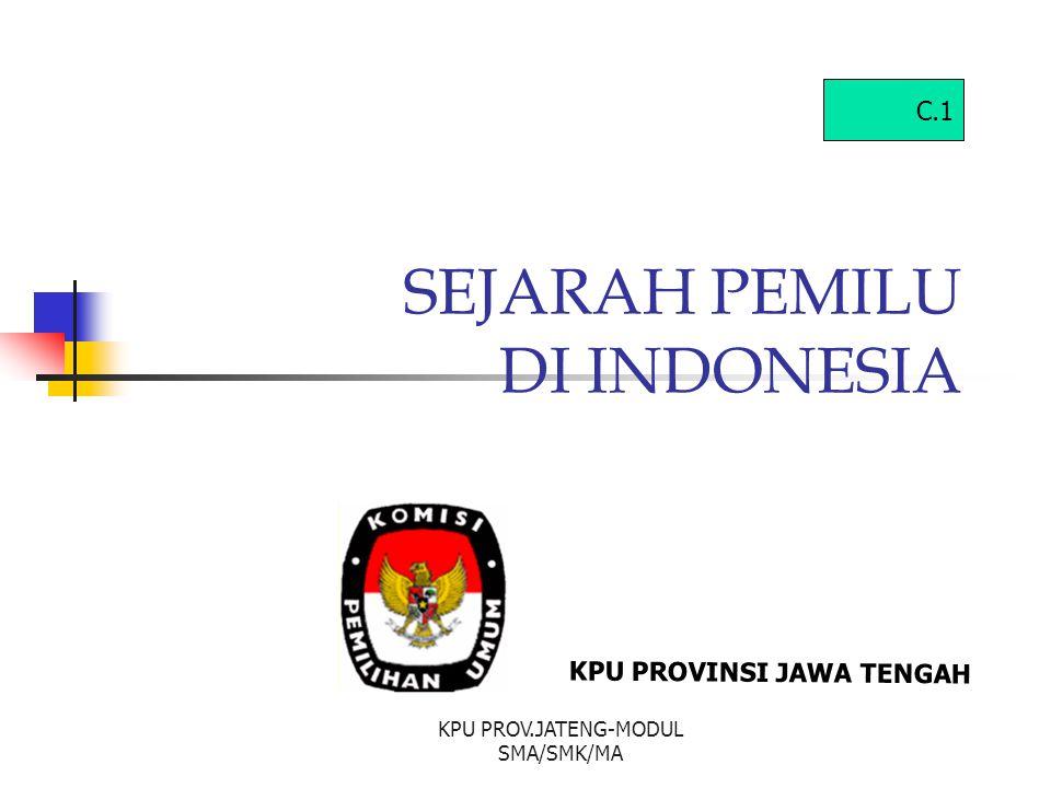 SEJARAH PEMILU DI INDONESIA KPU PROVINSI JAWA TENGAH C.1 KPU PROV.JATENG-MODUL SMA/SMK/MA