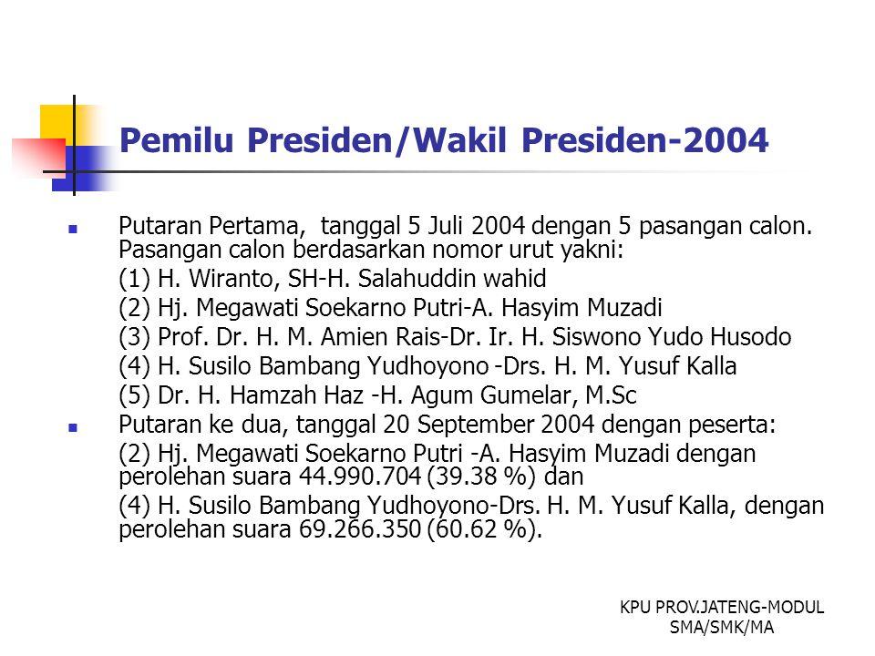 Pemilu Presiden/Wakil Presiden-2004 Putaran Pertama, tanggal 5 Juli 2004 dengan 5 pasangan calon. Pasangan calon berdasarkan nomor urut yakni: (1) H.