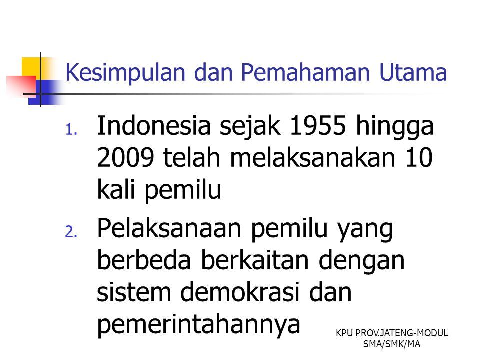 Kesimpulan dan Pemahaman Utama 1. Indonesia sejak 1955 hingga 2009 telah melaksanakan 10 kali pemilu 2. Pelaksanaan pemilu yang berbeda berkaitan deng