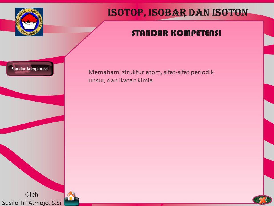 TEORI ATOM ISOTOP, ISOBAR DAN ISOTON Oleh Susilo Tri Atmojo, S.Si ISOTOP ISOBAR ISOTON NOMOR MASSA NOMOR ATOM iISOTOP Isotop adalah atom unsur sama dengan nomor massa berbeda.
