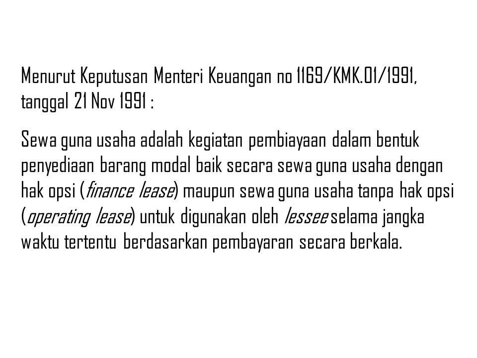 Menurut Keputusan Menteri Keuangan no 1169/KMK.01/1991, tanggal 21 Nov 1991 : Sewa guna usaha adalah kegiatan pembiayaan dalam bentuk penyediaan baran