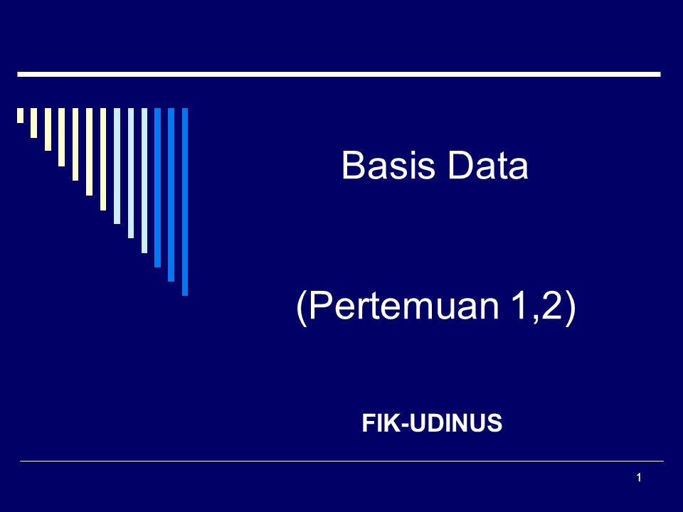 12 Tujuan Basis Data Prinsip kerja Basis Data : Pengaturan data / arsip Tujuan Basis Data : Kemudahan dan kecepatan dalam pengambilan data ( speed) Efisiensi ruang penyimpanan ( space) Mengurangi / menghilangkan redudansi data Keakuratan (Accuracy) Pembentukan kode & relasi antar data berdasar aturan / batasan (constraint) tipe data, domain data, keunikan data, untuk menekan ketidakakuratan saat entry / penyimpanan data.