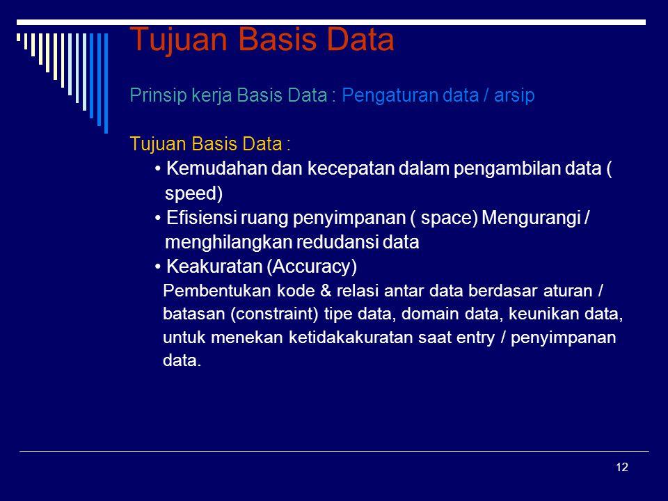 12 Tujuan Basis Data Prinsip kerja Basis Data : Pengaturan data / arsip Tujuan Basis Data : Kemudahan dan kecepatan dalam pengambilan data ( speed) Ef