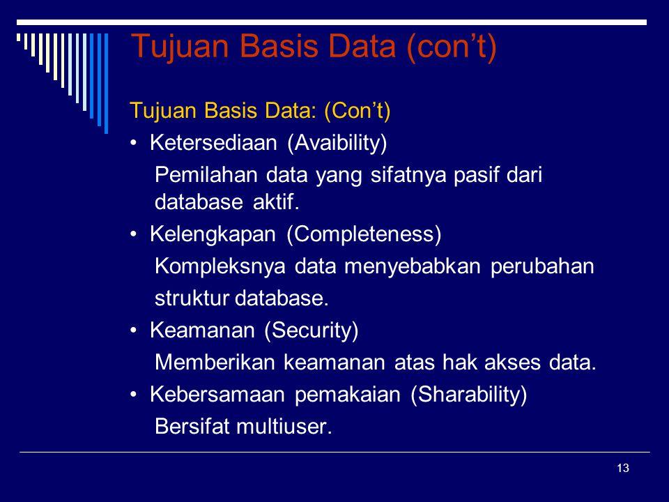 13 Tujuan Basis Data (con't) Tujuan Basis Data: (Con't) Ketersediaan (Avaibility) Pemilahan data yang sifatnya pasif dari database aktif. Kelengkapan