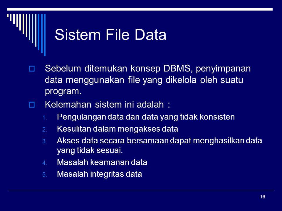16 Sistem File Data  Sebelum ditemukan konsep DBMS, penyimpanan data menggunakan file yang dikelola oleh suatu program.  Kelemahan sistem ini adalah