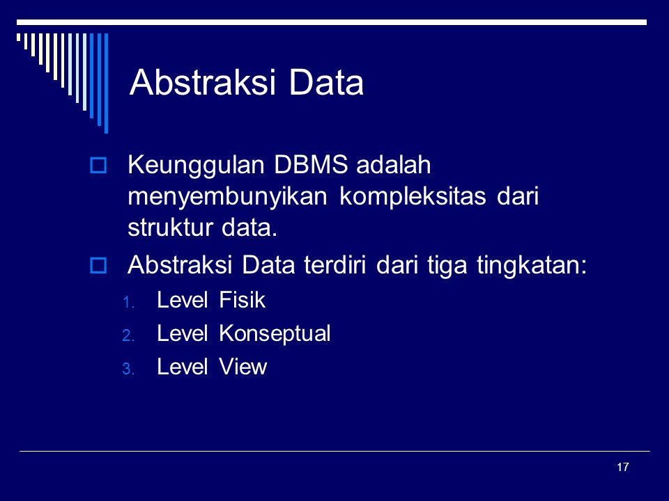 17 Abstraksi Data  Keunggulan DBMS adalah menyembunyikan kompleksitas dari struktur data.  Abstraksi Data terdiri dari tiga tingkatan: 1. Level Fisi