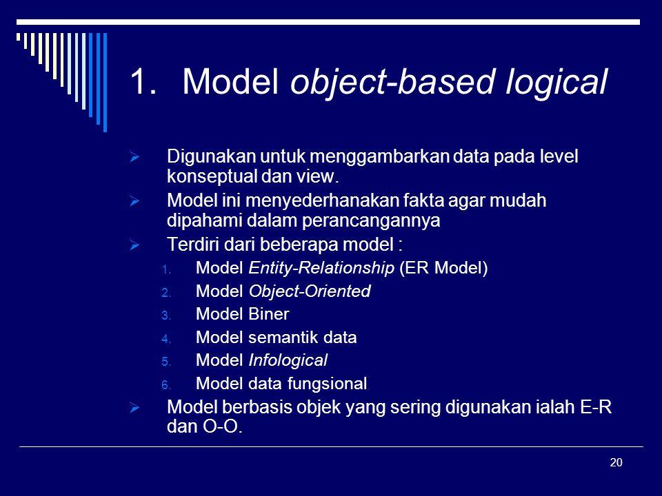 20 1.Model object-based logical  Digunakan untuk menggambarkan data pada level konseptual dan view.  Model ini menyederhanakan fakta agar mudah dipa
