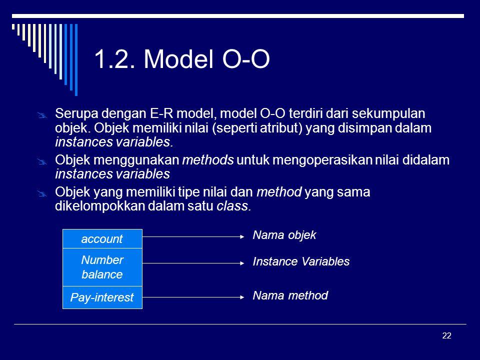 22 1.2. Model O-O  Serupa dengan E-R model, model O-O terdiri dari sekumpulan objek. Objek memiliki nilai (seperti atribut) yang disimpan dalam insta