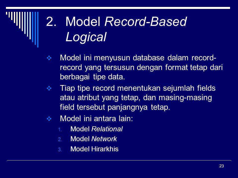 23 2.Model Record-Based Logical  Model ini menyusun database dalam record- record yang tersusun dengan format tetap dari berbagai tipe data.  Tiap t