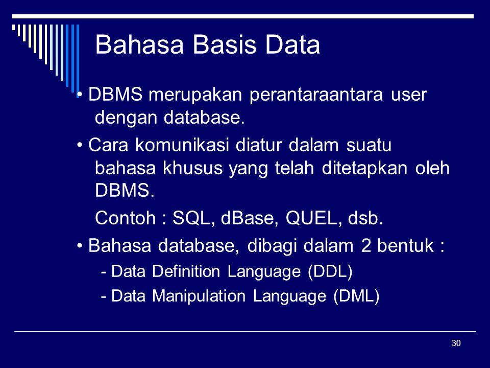 30 Bahasa Basis Data DBMS merupakan perantaraantara user dengan database. Cara komunikasi diatur dalam suatu bahasa khusus yang telah ditetapkan oleh