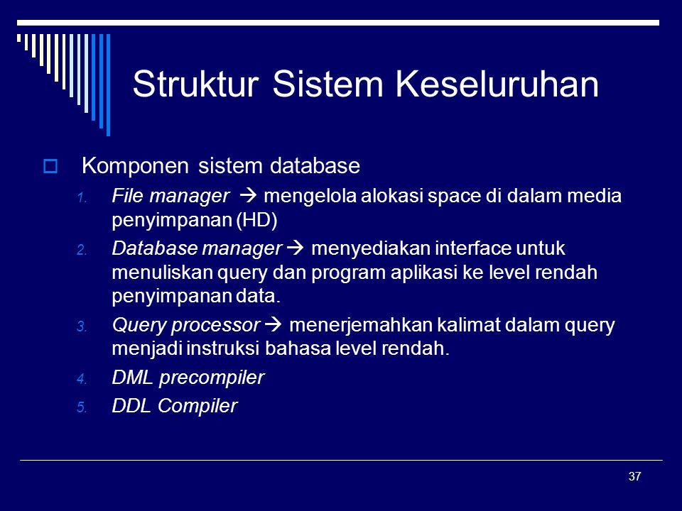 37 Struktur Sistem Keseluruhan  Komponen sistem database 1. File manager  mengelola alokasi space di dalam media penyimpanan (HD) 2. Database manage