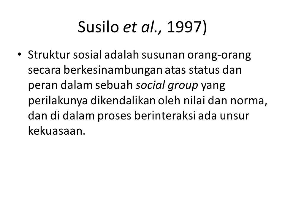 Struktur sosial adalah susunan orang-orang secara berkesinambungan atas status dan peran dalam sebuah social group yang perilakunya dikendalikan oleh