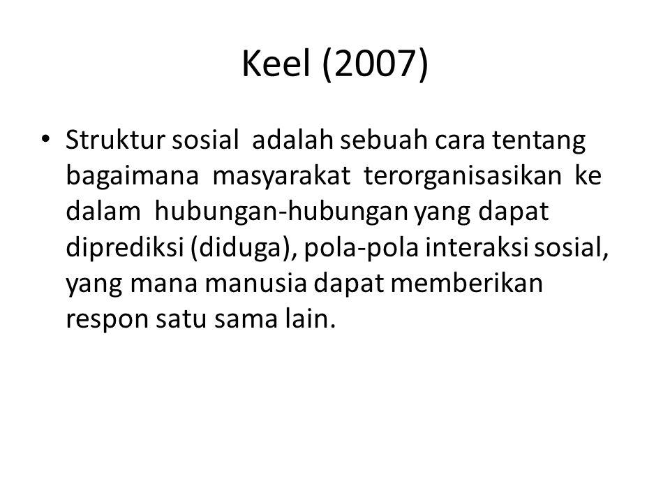 Keel (2007) Struktur sosial adalah sebuah cara tentang bagaimana masyarakat terorganisasikan ke dalam hubungan-hubungan yang dapat diprediksi (diduga)
