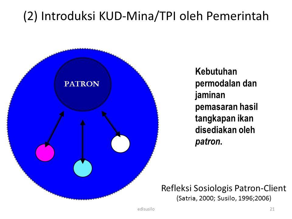 Refleksi Sosiologis Patron-Client (Satria, 2000; Susilo, 1996;2006) Kebutuhan permodalan dan jaminan pemasaran hasil tangkapan ikan disediakan oleh pa