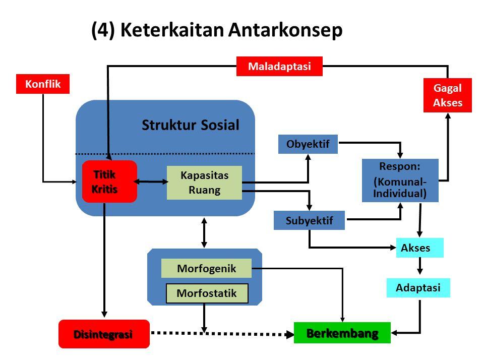 (4) Keterkaitan Antarkonsep Berkembang Struktur Sosial Disintegrasi Titik Kritis Kapasitas Ruang Morfogenik Morfostatik Konflik Subyektif Obyektif Res