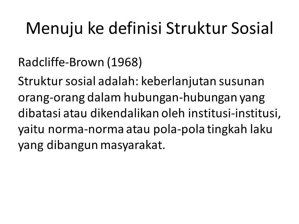 Menuju ke definisi Struktur Sosial Radcliffe-Brown (1968) Struktur sosial adalah: keberlanjutan susunan orang-orang dalam hubungan-hubungan yang dibat