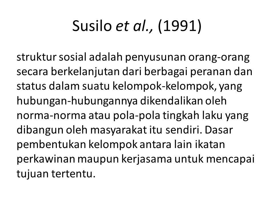 Susilo et al., (1991) struktur sosial adalah penyusunan orang-orang secara berkelanjutan dari berbagai peranan dan status dalam suatu kelompok-kelompo