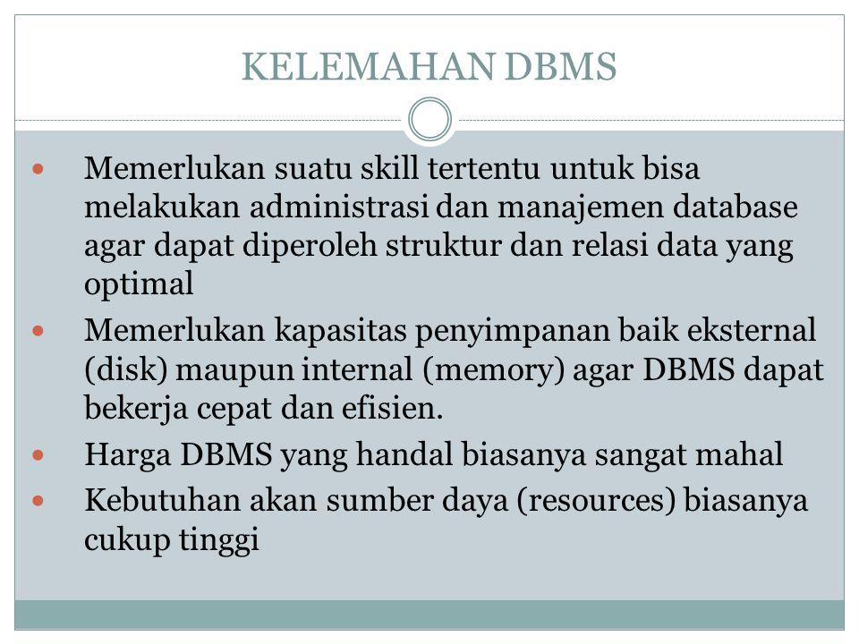 KELEMAHAN DBMS Memerlukan suatu skill tertentu untuk bisa melakukan administrasi dan manajemen database agar dapat diperoleh struktur dan relasi data