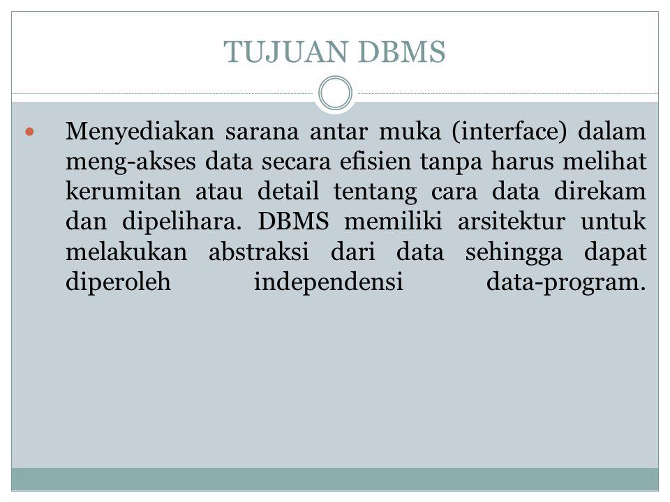 TUJUAN DBMS Menyediakan sarana antar muka (interface) dalam meng-akses data secara efisien tanpa harus melihat kerumitan atau detail tentang cara data
