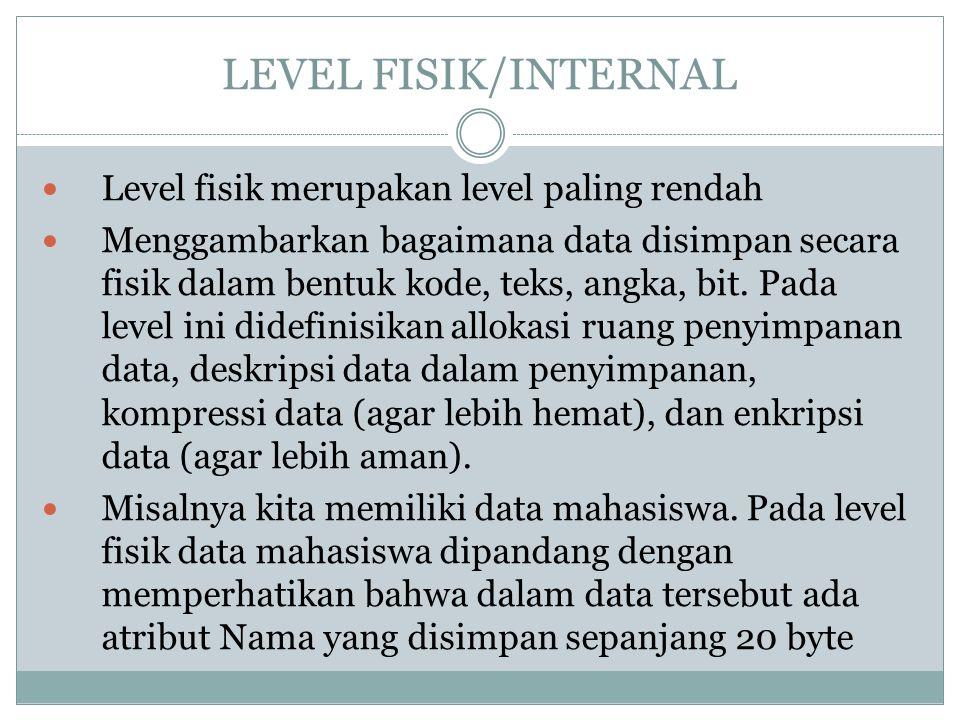 LEVEL FISIK/INTERNAL Level fisik merupakan level paling rendah Menggambarkan bagaimana data disimpan secara fisik dalam bentuk kode, teks, angka, bit.