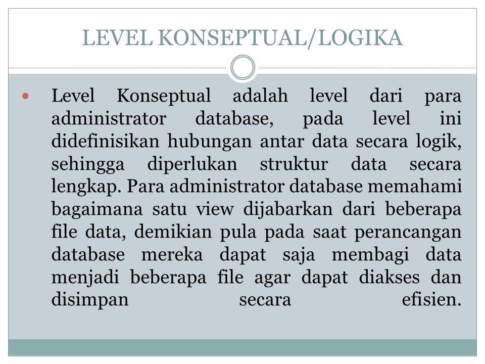LEVEL KONSEPTUAL/LOGIKA Level Konseptual adalah level dari para administrator database, pada level ini didefinisikan hubungan antar data secara logik,