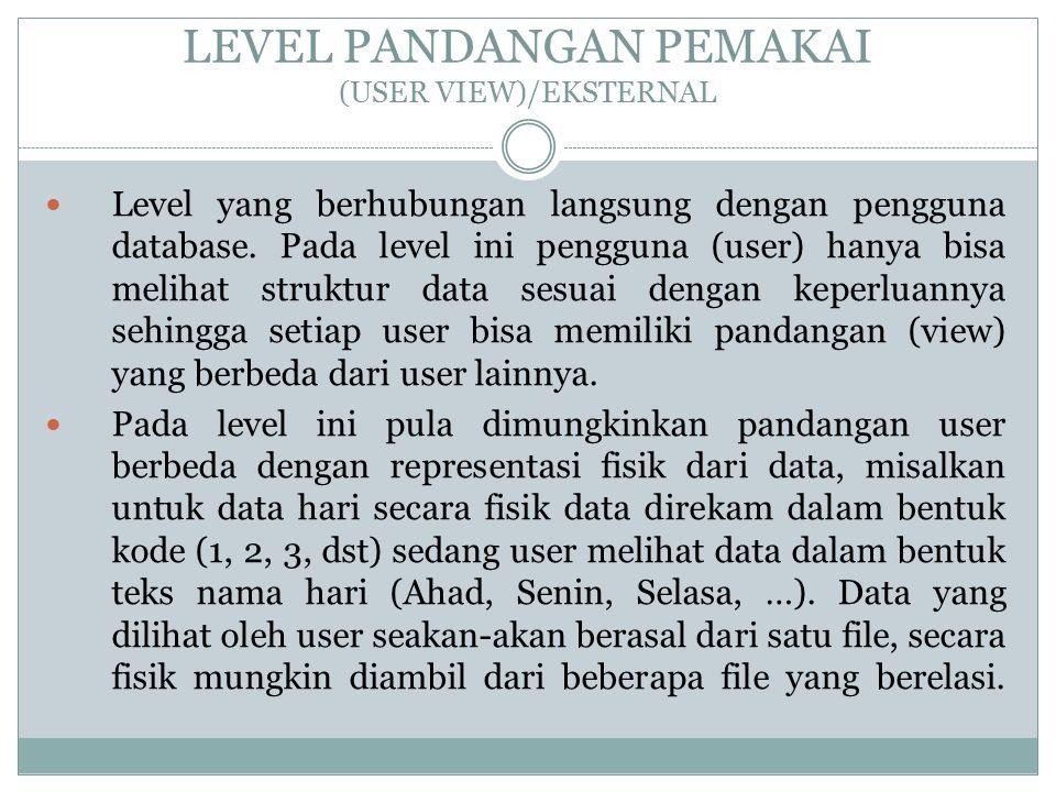 LEVEL PANDANGAN PEMAKAI (USER VIEW)/EKSTERNAL Level yang berhubungan langsung dengan pengguna database. Pada level ini pengguna (user) hanya bisa meli