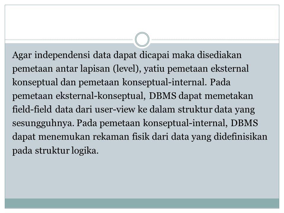 Agar independensi data dapat dicapai maka disediakan pemetaan antar lapisan (level), yatiu pemetaan eksternal konseptual dan pemetaan konseptual-inter