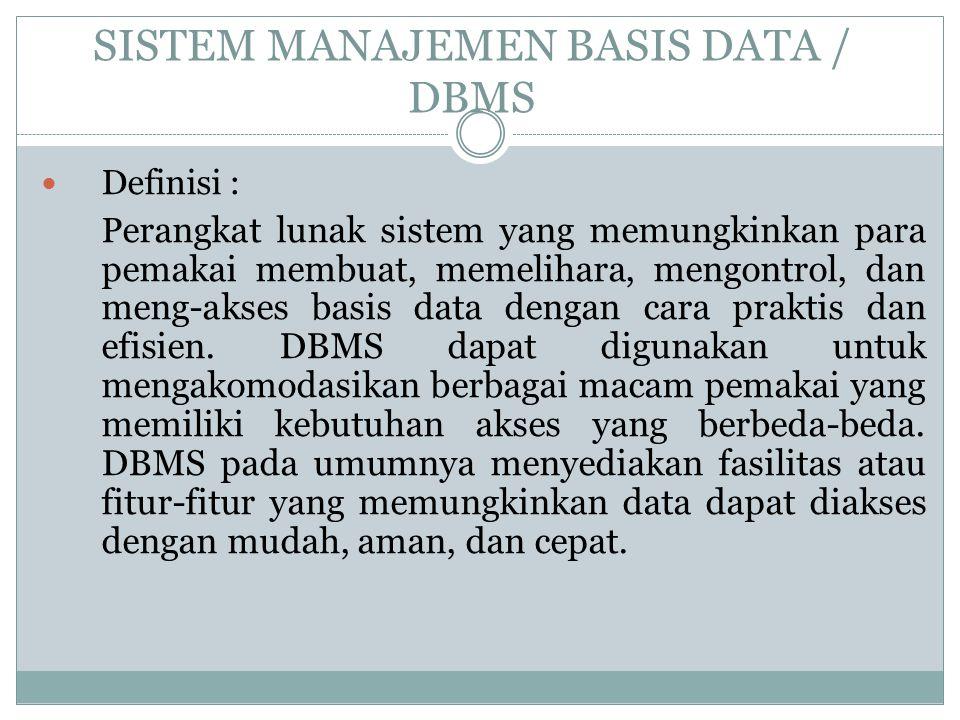 SISTEM MANAJEMEN BASIS DATA / DBMS Definisi : P erangkat lunak sistem yang memungkinkan para pemakai membuat, memelihara, mengontrol, dan meng-akses b