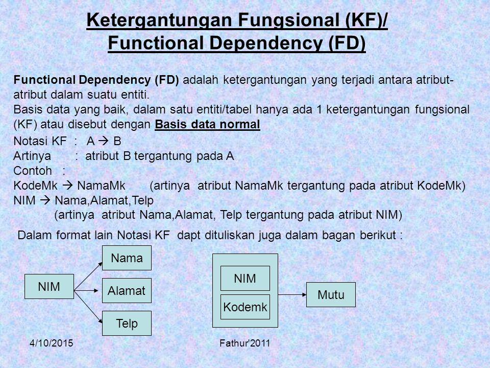 4/10/2015Fathur'2011 Ketergantungan Fungsional (KF)/ Functional Dependency (FD) Functional Dependency (FD) adalah ketergantungan yang terjadi antara a