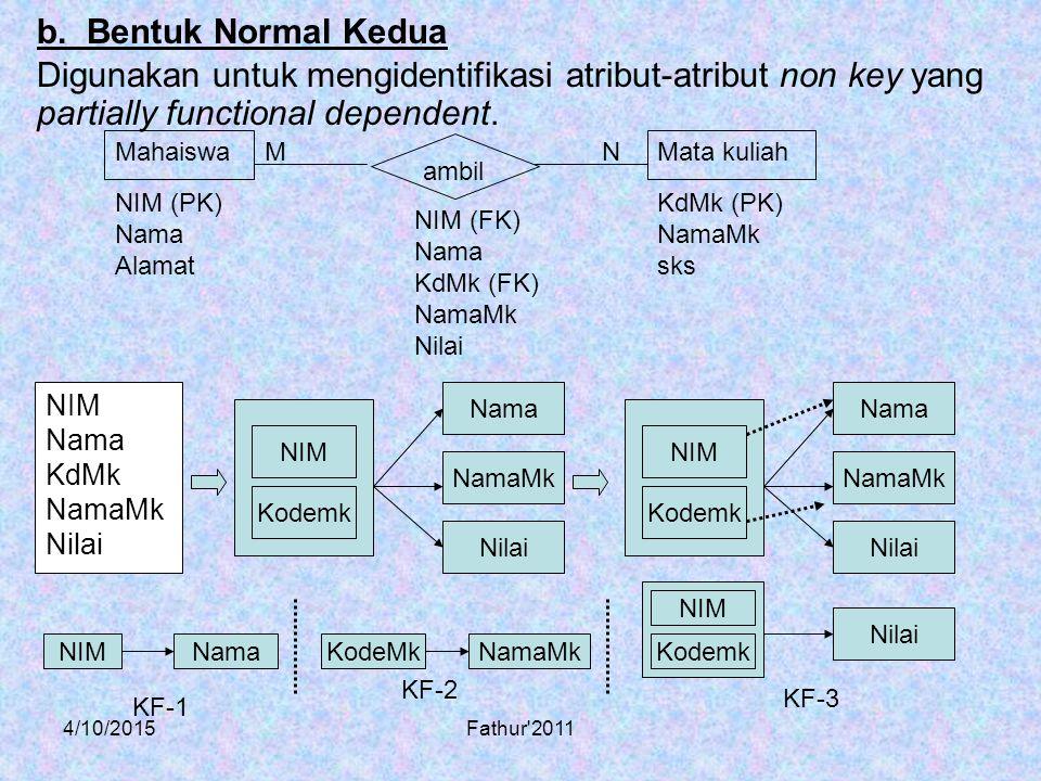4/10/2015Fathur'2011 Digunakan untuk mengidentifikasi atribut-atribut non key yang partially functional dependent. b. Bentuk Normal Kedua NIM Nama KdM