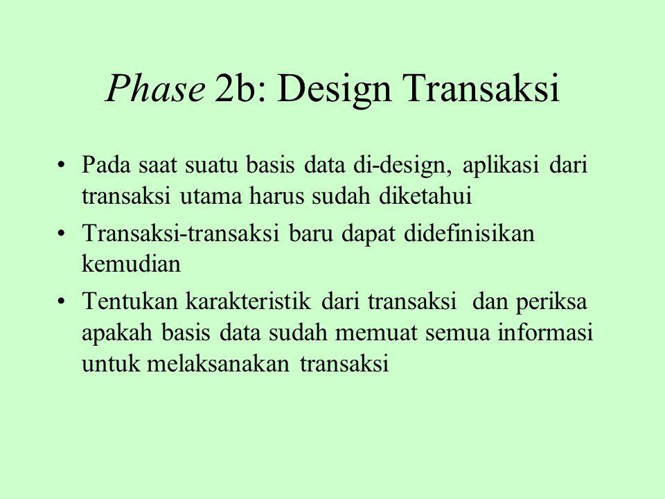 Phase 2b: Design Transaksi Pada saat suatu basis data di-design, aplikasi dari transaksi utama harus sudah diketahui Transaksi-transaksi baru dapat di