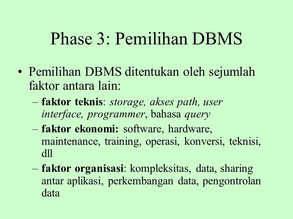 Phase 3: Pemilihan DBMS Pemilihan DBMS ditentukan oleh sejumlah faktor antara lain: –faktor teknis: storage, akses path, user interface, programmer, b