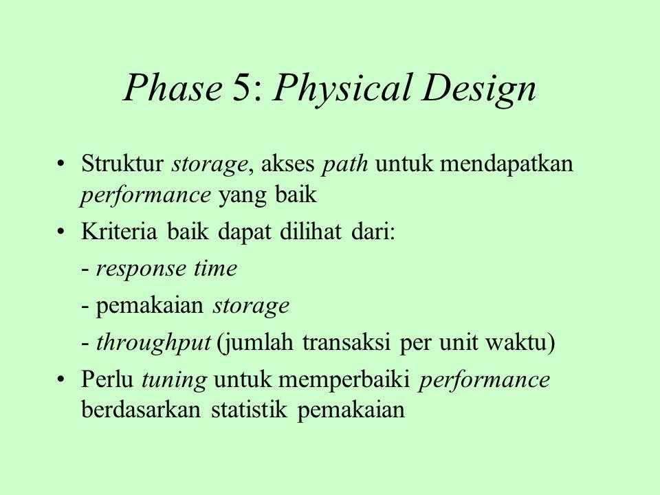 Phase 5: Physical Design Struktur storage, akses path untuk mendapatkan performance yang baik Kriteria baik dapat dilihat dari: - response time - pema