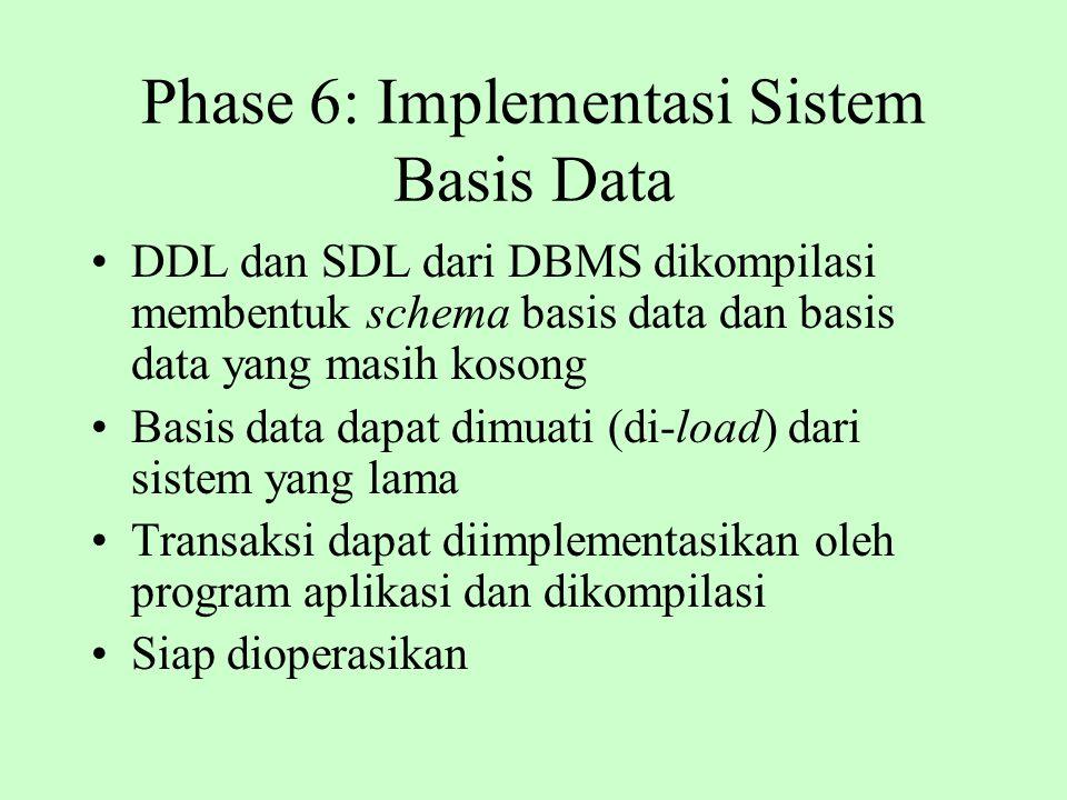 Phase 6: Implementasi Sistem Basis Data DDL dan SDL dari DBMS dikompilasi membentuk schema basis data dan basis data yang masih kosong Basis data dapa