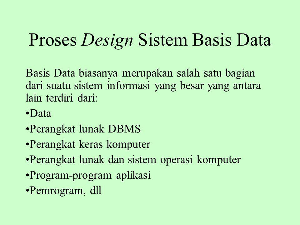 Proses Design Sistem Basis Data Basis Data biasanya merupakan salah satu bagian dari suatu sistem informasi yang besar yang antara lain terdiri dari: